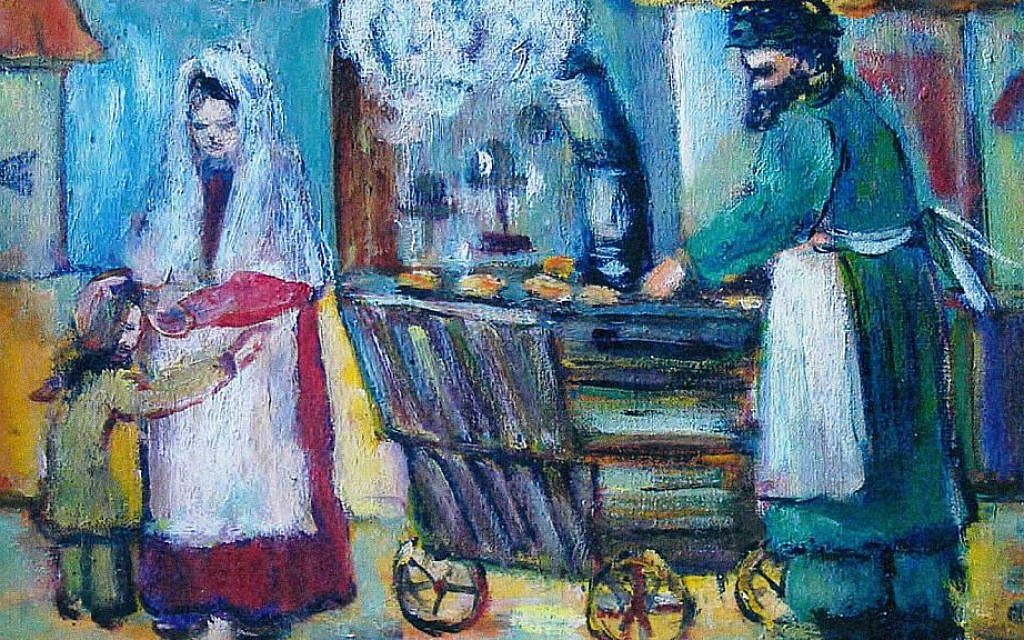 Ruth Arembud's painting of a Lower East Side vendor will be displayed at the Eldridge Street Synagogue. (Courtesy Museum at Eldridge Street/JTA)