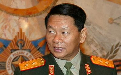 Laotian Defense Minister Douangchay Phichit in a 2004 file photo (Photo credit: AP/file)