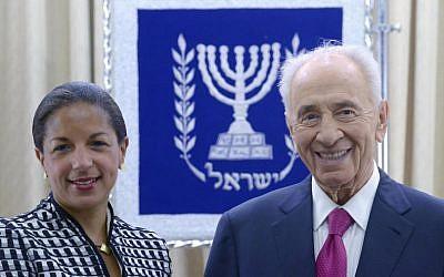 President Shimon Peres with US National Security Advisor Susan Rice, May 7, 2014. (photo credit: Mark Neiman/GPO)