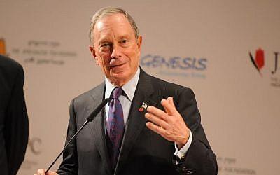 Michael Bloomberg at a press conference in Jerusalem May 22 (photo credit: Avshalom Sassoni)