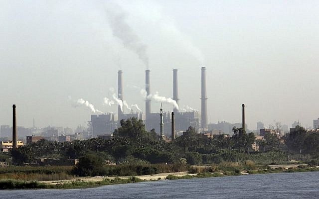 Illustrative photo of the Shoubra El-Kheima power station along on the Nile river in Cairo, Egypt. (photo credit: AP/Amr Nabil)