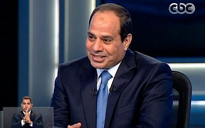 Egypt's former military chief Abdel-Fattah el-Sissi is seen during an interview on a nationally televised program in Cairo, Egypt, May 5, 2014. (photo credit: AP/Egypt's State Television)