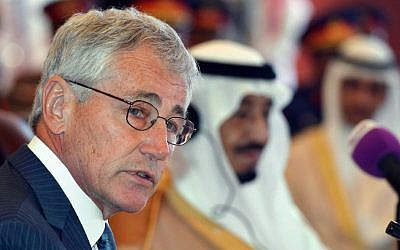 US Defense Secretary Chuck Hagel addresses his Gulf counterparts in Jeddah, Saudi Arabia, on Wednesday. (photo credit: AP/Mandel Ngan/Pool)