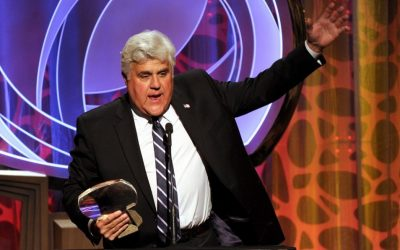 Hall of Fame inductee Jay Leno speaks on stage at the Beverly Wilshire in Beverly Hills, California, on March 11, 2014 (photo credit: AP/Frank Micelotta/Invision for the Television Academy)