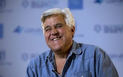 American comedian Jay Leno reacts during an interview with the Associated Press in Jerusalem, on Wednesday May 21, 2014. (photo credit: AP/Sebastian Scheiner)