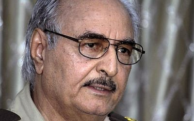 In this Saturday, May 17, 2014 photo, Libyan Gen. Khalifa Hifter addresses a press conference in Benghazi, Libya. (Photo credit: AP/Mohammed el-Shaiky)