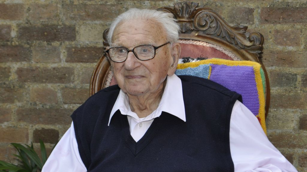 Sir Nicholas Winton at his 105th birthday party. (Courtesy of Barbara Winton)