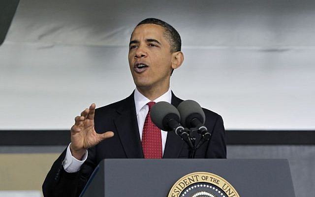 US President Barack Obama speaks at the US Military Academy on May 22, 2010 (photo credit: AP Photo/J. Scott Applewhite, File)