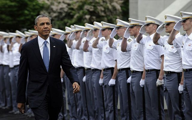 President Barack Obama arrives to deliver the commencement address to the US Military Academy at West Point's Class of 2014, Wednesday, May 28, 2014, in West Point, NY, Wednesday, May 28, 2014. (photo credit: AP Photo/Susan Walsh)