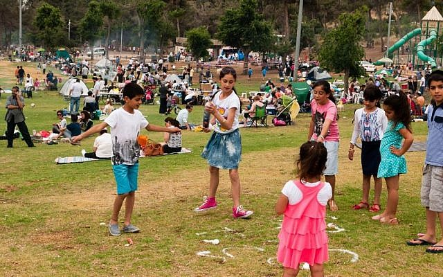Israeli children play in Jerusalem's Sacher Park as they celebrate Israel's 66th Independence Day, Tuesday, May 6, 2014. (photo credit: Yifa Yaakov/The Times of Israel)