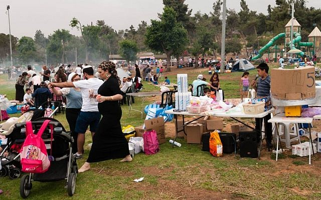Families flock to Jerusalem's Sacher Park as they celebrate Israel's 66th Independence Day with a traditional barbecue, Tuesday, May 6, 2014. (photo credit: Yifa Yaakov/The Times of Israel)