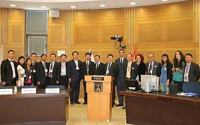 Members of a delegation to the Israel-China Economic Summit at the Knesset in May 2014 (photo credit: Courtesy)