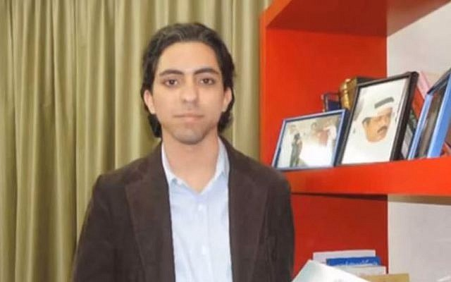 Saudi Arabian liberal rights activist Raif Badawi who was sentenced to 10 years in prison and 1,000 lashes, May 2014. (screen capture: YouTube/Saudi Liberals)