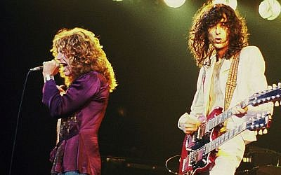 Led Zeppelin's Robert Plant (left) and Jimmy Page in concert in 1977. (photo credit: Wikipedia Commons/ Jim Summaria, http://www.jimsummariaphoto.com)