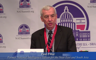 """Paul Pillar at a conference entitled The National Summit to Reassess the U.S.-Israel """"Special Relationship"""". March 7, 2014 (Image: Youtube screenshot)"""