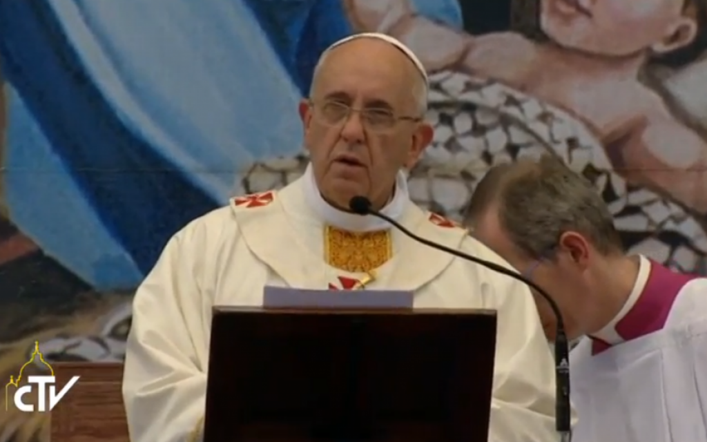 Pope Francis delivers mass at Manger Square in Bethlehem on Sunday, May 25. (screen capture: CTV)