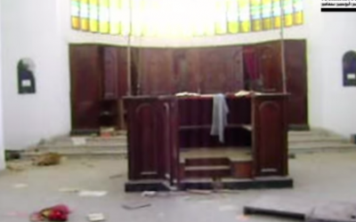 A screenshot taken from amateur footage of the ransacked Beit El synagogue in Sfax, Tunisia (YouTube)