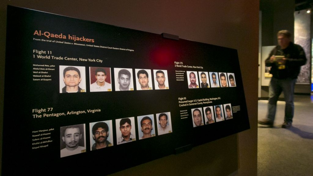 Portraits of the Al-Qaeda hijackers are displayed at the National Sept. 11 Memorial Museum on Wednesday (photo credit: AP)