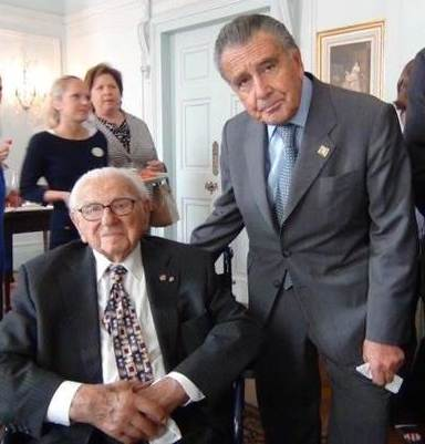 Sir Nicholas Winton with Eduardo Eurnekian, June 2013 (Photo courtesy Eduardo Eurnekian)
