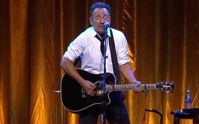 Bruce Springsteen performs at a Los Angeles event to honor the 20th anniversary of Steven Spielberg's USC Shoah Foundation (photo credit: YouTube screenshot)
