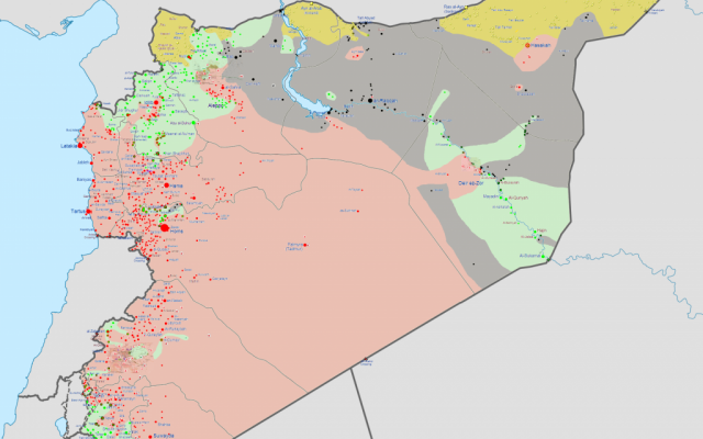 A map of the Syrian civil war as of May 2014, with ISIL-controlled areas in black. (photo credit: CC BY-SA Wikimedia Commons)