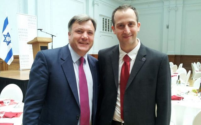 Tal Ofer with MP Ed Balls, who was notoriously photographed in a Nazi uniform while at university. (courtesy)