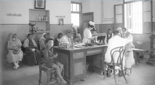 In the waiting room, circa early 20th century Jerusalem (Courtesy Tower of David Museum)