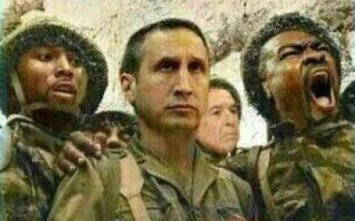 Tyrese Rice, coach David Blatt and Sofoklis Schortsanitis in the latest meme making the rounds (Amir Schiby/Twitter)