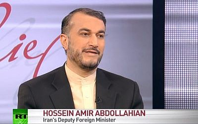 Iran's Deputy Foreign Minister Hossein Amir Abdollahian. (screen capture: YouTube/RT)
