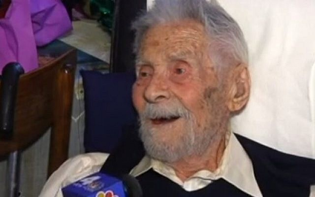 The oldest man in the world, 111-year-old Holocaust survivor Alexander Imich, in an interview with NBC News, May 2014 (screen capture: YouTube)