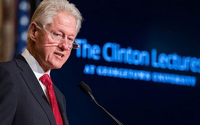 Former US president Bill Clinton speaks at Georgetown University on Wednesday, April 30, 2014 (photo credit: Georgetown University)