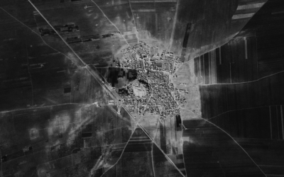 A 1960s spy satellite image of Tell Rifaat in northern Syria, with the ancient remains of a city clearly visible beneath. (photo credit: Center for Advanced Spatial Technologies, University of Arkansas/U.S. Geological Survey)