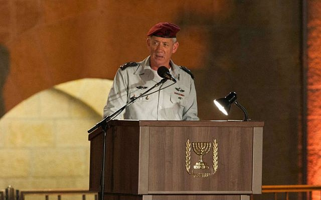 Chief of General Staff of the Israel Defense Forces Benny Gantz speaks during a Memorial Day ceremony for Israel's  fallen soldiers at the Western Wall, May 4, 2014. (photo credit: Yonatan Sindel/Flash 90)