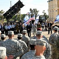 Then-US secretary of defense Chuck Hagel speaks to Israeli and US soldiers during a joint exercise called Juniper Cobra 14, May 2014. (Matty Stern/US Embassy/Flash90)