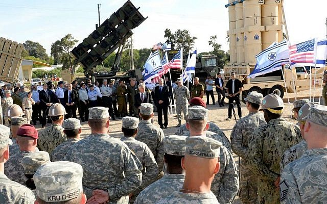 Then US secretary of defense Chuck Hagel speaks to Israeli and US soldiers during a joint exercise called Juniper Cobra 14, May 2014. (Matty Stern/US Embassy/Flash90)