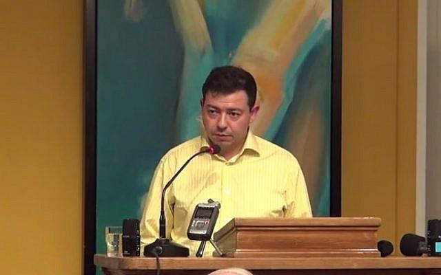 Ahmed Akkari speaks to a Danish audience, August 2013.  (screen capture, YouTube)
