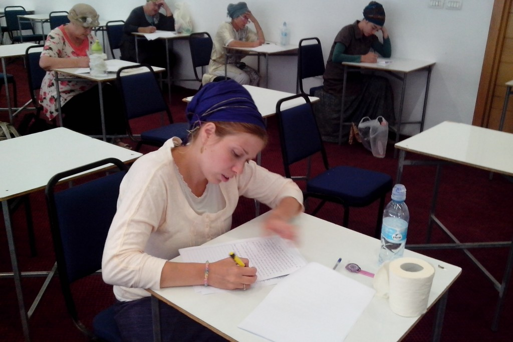 Miriam Goldfisher, director of a kosher supervision class for women, studying Jewish dietary laws in preparation for the Israeli Chief Rabbinate exam on the topic. photo credit: JTA)