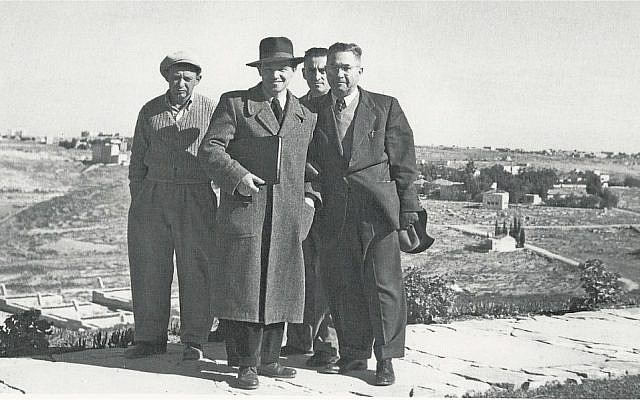 Asher Hiram, left, along with Defense Ministry officials in 1951 (photo credit: Defense Ministry)