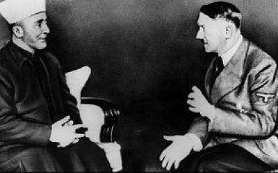 A picture from a 1941 meeting between Adolf Hitler and the Palestinian Mufti Haj Amin al-Husseini that featured in a 2014 campaign in Washington DC (photo credit: public domain)