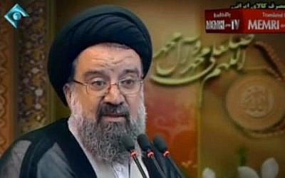 Ayatollah Ahmad Khatami delivers a Friday sermon in Tehran in April 2014. (MEMRI TV)