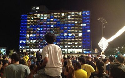The crowd in Rabin Square Monday night. (photo credit: Debra Kamin/Times of Israel)