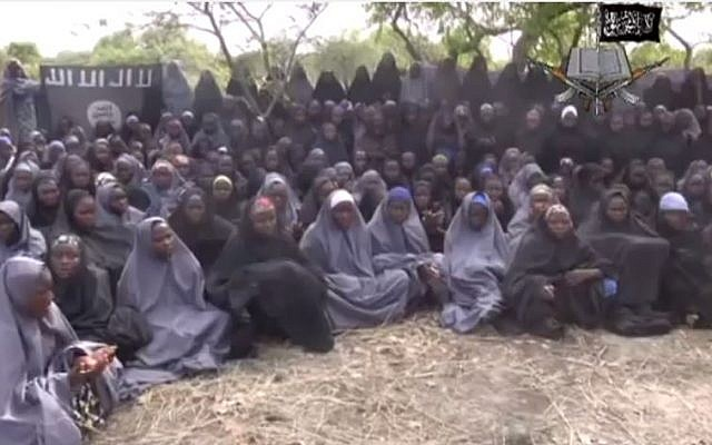 Video reportedly showing some of the 276 school girls kidnapped by Islamic group Boko Haram, May 12, 2014. (screen capture: YouTube/AFP news agency)