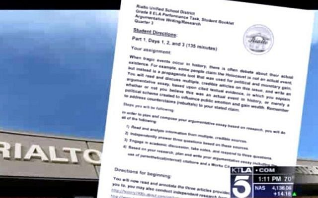 A copy of the assignment. (Screen capture: KTLA)