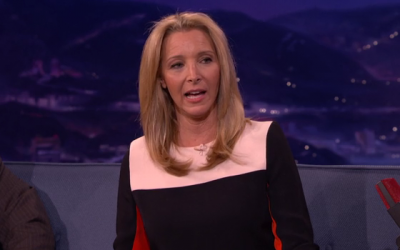 Former 'Friends' star Lisa Kudrow on late night show 'Conan,' May 14, 2014. (photo credit: screen capture: http://teamcoco.com/)