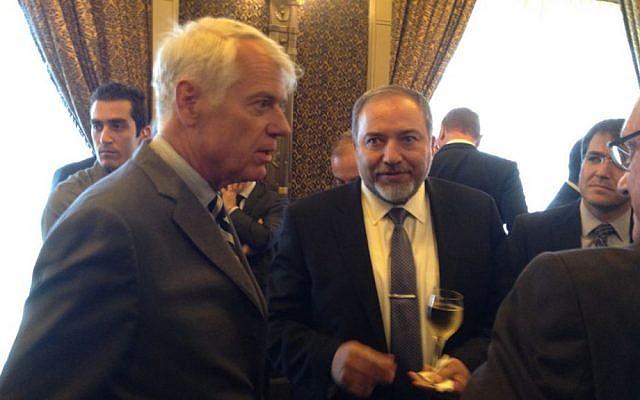 EU Ambassador Lars Faaborg Anderson, left, with Avigdor Liberman in May, 2014. (photo credit: Raphael Ahren/Times of Israel)