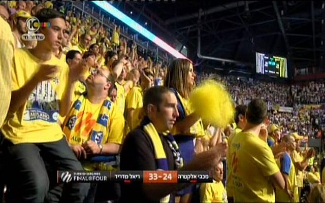 Maccabi Electra Tel Aviv fans in the stands at the Euroleague Final in Milan on May 18. (screen capture: Channel 10)