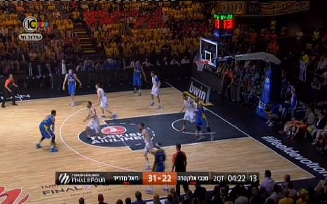 The second quarter of Maccabi Electra Tel Aviv against Real Madrid on May 18. (screen capture: Channel 10)