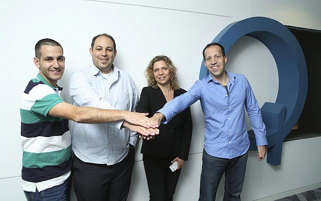 L to R: Rotem and Omri Shor (MediSafe) and Merav and Mony Hassid (Qualcomm Ventures) pose after MediSafe was awarded Qualcomm Ventures' QPrize for start-up excellence (Photo credit: Courtesy)