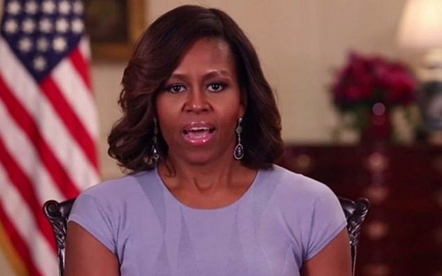 Screenshot from video of US First Lady Michelle Obama delivering speech on missing Nigerian girls.
