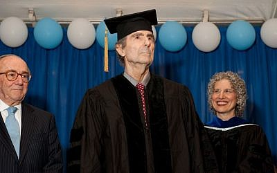 Philip Roth receives an honorary doctorate at the Jewish Theological Seminary's commencement in New York, May 22, 2014. (photo credit: JTA/Ellen Dubin Photography)